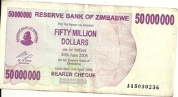 ZIMBABWE 50 MILLION DOLLARS 2008 VF P 57 - Zimbabwe