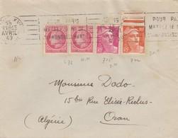 LETTRE. POUR ORAN ALGERIE. 1949. 15F.  MIXTE. PARIS  /   2 - 1921-1960: Moderne