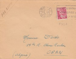 LETTRE. POUR ORAN ALGERIE. 1947. 5F GANDON LIMOGES  /   2 - Postmark Collection (Covers)