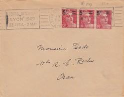 LETTRE. POUR ORAN ALGERIE. 1949. 15F GANDON  LYON    /   2 - 1945-54 Marianne De Gandon