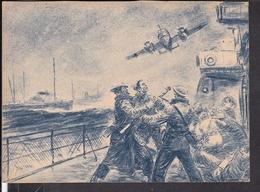 """Postkarte Überraschender Tiefangriff Einer Do 17 Auf  Britischen Geleitzug , Luftwaffen - Illustrierte """" Der Adler """" - Deutschland"""