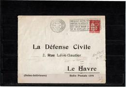 """LPHTX1218- ENVELOPPE PAIX 50c REPIQUAGE """"LA DEFENSE CIVILE"""" OBL. EN BELGIQUE 16/9/1935 NON TAXEE - Entiers Postaux"""