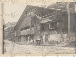 Photographie Ancienne 1902 Grand Chalet à Gryon Suisse - Lieux
