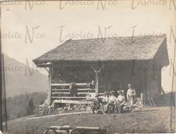 Photographie Ancienne 1902 Famille Bauss Au Col De La Croix Villars Suisse - Plaatsen