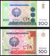 Uzbekistan 200, 500 Sum 1997 1999 UNC FdS - Uzbekistan