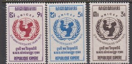 Cambodia Scott 269-271 1971 UNICEF 25th Anniversary ,mint Never Hinged - Cambodia