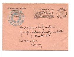 LETTRE DE MAIRIE DE RIOM PUY DE DOME - Marcophilie (Lettres)