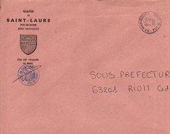 LETTRE DE MAIRIE DE SAINT-LAURE PUY DE DOME - 1961-....