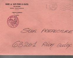 LETTRE DE MAIRIE DE SAINT-PIERRE-LE-CHASTEL PUY DE DOME - 1961-....