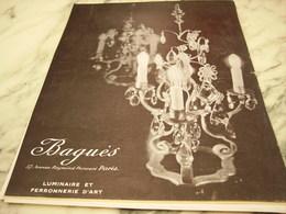 ANCIENNE PUBLICITE LUMINAIRE ET FERRONNERIE D ART  BAGUES 1950 - Luminaires