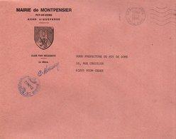 LETTRE DE MAIRIE DE MONTPENSIER PUY DE DOME - Marcophilie (Lettres)