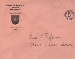 LETTRE DE MAIRIE DE MONTCEL PUY DE DOME - Marcophilie (Lettres)