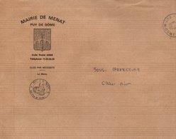 LETTRE DE MAIRIE DE MENAT PUY DE DOME - Marcophilie (Lettres)