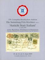 """Antichi Stati Italiani Sammlung Fritz Kichner I - Gebundener Luxuskatalog 159. CORINPHILA Auktion 2009 - Stato Pontificio"
