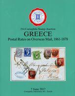 GREECE Postal Rates On Overseas Mail 1861 - 1878 - Gebundener Luxuskatalog 214. CORINPHILA Auktion 2017 - Catalogues For Auction Houses
