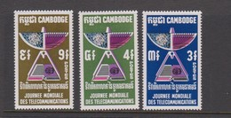 Cambodia SG 263-265 1970 World Telecommunication Day ,mint Never Hinged - Cambodge