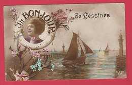 Lessines - Un Bonjour De ... - Jolie Carte Fantaisie - 1919 ( Voir Verso ) - Lessen