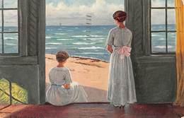 Dänische Kunst L. Mogelgaard Pinx: In Erwartung Danske Sommerstrande - 1917 - Danemark