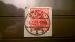 FRANCOBOLLI STAMPS GERMANIA DEUTSCHE 1920 USED SU FRAMMENTO ALLEGORIA 40 PFG ANNULLO GORLITZ GERMANY - Used Stamps