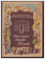DT- Reich (007443) Propaganda Türblatt, Dein Opfer Schafft Freude WHW 1937/1938 Zweite Wahl!! - Deutschland