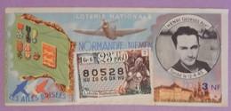 """BILLET DE LOTERIE NATIONALE ANNEE 1960  23 EME TRANCHE GR6 """"LES AILES BRISEES""""ASPIRANT HENRI GEORGES RARE - Billets De Loterie"""