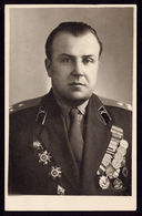 RUSSIA MILITARY PHOTO COLONEL ARTILLERY RED STAR RED BANNER 2 PATRIOTIC WAR 1964 - Documents