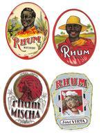 Etiquette De RHUM - 4 Unités Illustrées - Années 1950 / 1960 - - Rhum