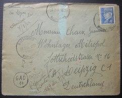 Mazargues 1944 Courrier Ouvrier Pour Le Camp Wohnlager Metropol Leipzig Allemagne Cachet Manuscrit Rond GAU 10 - 1921-1960: Modern Period