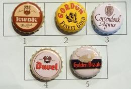 Lot N° 17-1 : 5 Capsules De Bière (parfait état - Pas De Trace De Décapsuleur) Beer - Cerveza - Birra - Bière