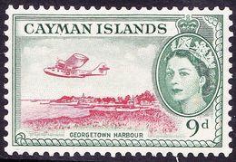 CAYMAN ISLANDS 1954 9d Scarlet & Bluish Green SG157 MH - Cayman Islands