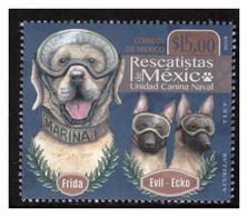 2018 MÉXICO  Rescatistas De México, Unidad Canina Naval,  EVIL-ECKO FRIDA, DOGS RESCATIST DOGS MNH - México