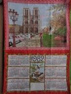 Torchon Calendrier-- -1982-notre Dame De Paris En Automne -creation Sonacott - Pubblicitari
