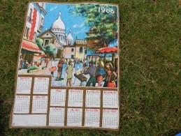 Torchon Calendrier 1968-sacre Coeur Paris Place Du Tertre - Advertising