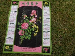 Torchon Calendrier 1967- Roses -soulat A Nanteuil - Advertising