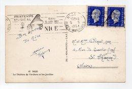 - Carte Postale NICE Pour SAINT-CHAMOND (Loire) 5.5.1951 - 2 X 4 F. Bleu Marianne De Dulac - A ETUDIER - - 1944-45 Marianne Of Dulac