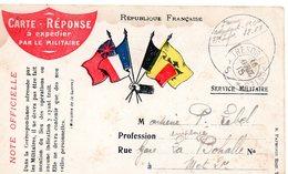 CP-  4 Drapeaux  Carte  Réponse à Expédier Par Le Militaire--- T Et P N° *67* - Marcophilie (Lettres)