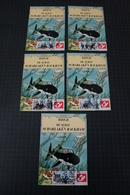 TINTIN Kuifje Hergé - Carte Postale + 5 Timbres Diff. -Emission 4 - DUOSTAMPS - De Schat Van Scharlaken Rackham -!RARE!! - België