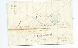 Lettre De Paris Pour Nogaro Gers 1828 - Marcofilia (sobres)
