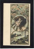 CPA Art Nouveau Femme Girl Woman Non Circulé - Frauen