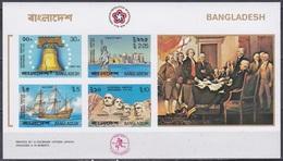 Bangladesch Bangladesh 1976 Geschichte Unabhängigkeit USA Glocke Rushmore Mayflower Freiheitsstatue, Bl. 2 Imperf. ** - Bangladesch