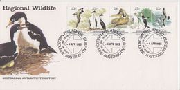 AAT 1983 Antarctic Wildlife Strip Of 5v FDC (F7658) - FDC