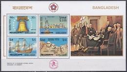 Bangladesch Bangladesh 1976 Geschichte History Unabhängigkeit USA Glocke Rushmore Mayflower Freiheitsstatue, Bl. 2 ** - Bangladesch
