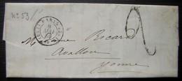 1850 Lettre De Paris Cachet ES2 Taxée (sans Timbre) Pour Avallon (Yonne) - Postmark Collection (Covers)
