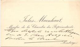 Visitekaartje - Carte Visite - Volksvertegenwoordiger Jules Maenhout Chambre Des Représentants - Lemberge - Cartes De Visite