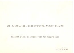 Visitekaartje - Carte Visite - M & Mw H. Bruyns - Van Dam - Bornem - Cartoncini Da Visita