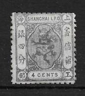 1866 SHANGHAI LOCAL SMALL DRAGON 4c Grey Lilac MINT H.- CHAN LS40 $50 - China