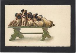 CPA Bouledogue Anglais Chien Dog Femme Girl Woman Non Circulé Illustrateur Fantaisie Carlin ? - Perros