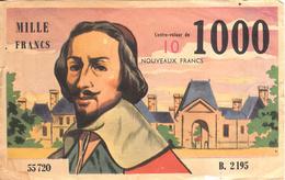 Thematiques Billet Factice Publicitaire Richelieu 1000 Fr Contre Valeur 10 Nouveaux Francs - Fictifs & Spécimens