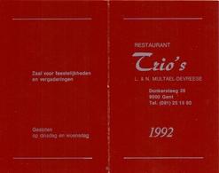 Kalender Calendrier - 1992 - Restaurant Trio's - Multael - Devreese - Gent - Calendriers