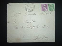 LETTRE TP M. DE GANDON 10F +5F OBL. HOROPLAN 24-1 1949 CHAMPDENIERS DEUX SEVRES (79) - Cachets Manuels